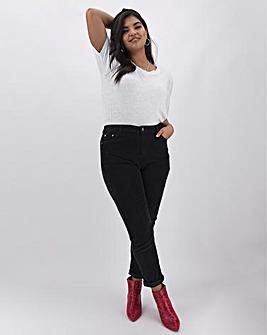 Black Stretch Cord Mom Jeans