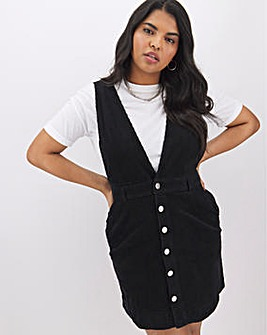 Black Cord Deep V Pinafore Dress