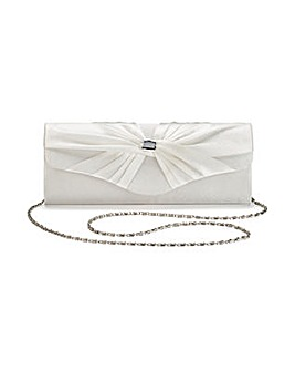 Ava Satin Roll Top Diamante Clutch Bag