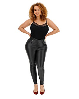 High Waist Zip Coated Shaper Jeggings