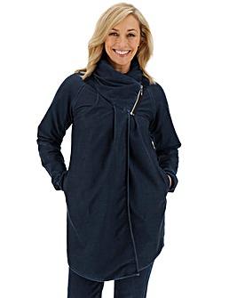 Premium Jersey Denim Cowl Neck Swing Jacket