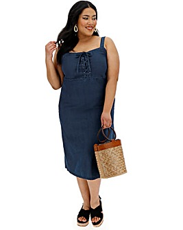 Tie Front Strappy Denim Midi Dress