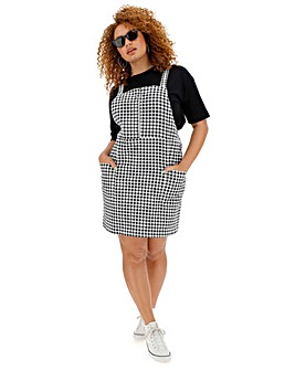 Gingham Print Zip Front Denim Pinafore