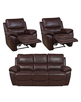 Bentley Leather 3 Seater Plus 2 Chairs