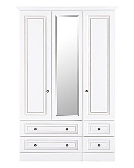 Aragon 3 Door 4 Drawer Mirror Wardrobe