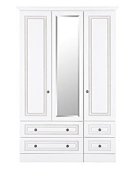 Aragon 3 Door 4 Drawer Mirror Wardrobe