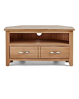 Harrogate Oak and Oak Veneer Corner TV Unit