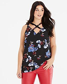 Black Floral Strappy Vest