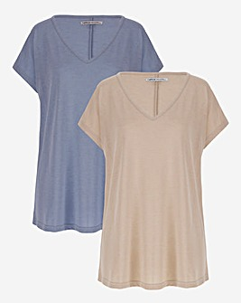 Pack of 2 V-Neck Slouch T-shirts