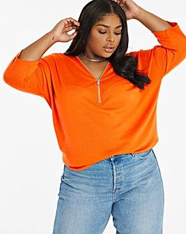 Orange Knit Look Zip Front Top