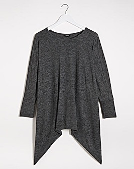 Charcoal Knit Look Hankey Hem Top