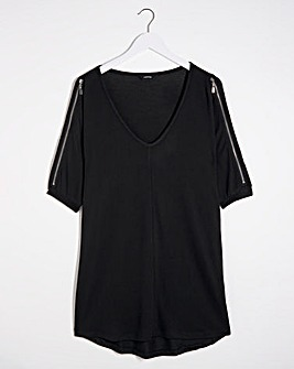 Black Cut And Sew Tunic