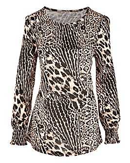 Leopard Mix Print Long Sleeve Shirred Neck Top