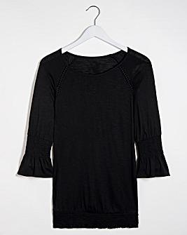Black Three Quarter Sleeve Gypsy Top
