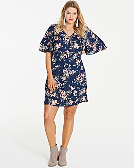 Blue Floral Ruffle Sleeve V-Neck Dress