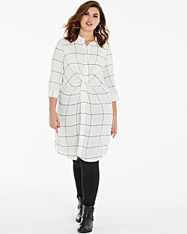 Check Tie Front Shirt Dress