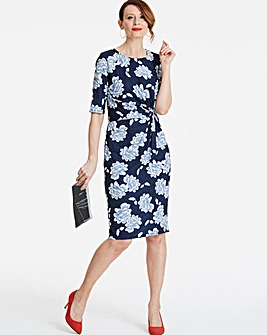 Petite Blue Floral Twist Knot Dress