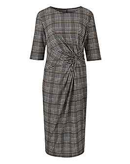 Petite Check Twist Knot Dress