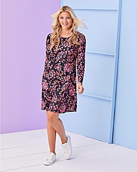 Pink Floral Long Sleeve Swing Dress