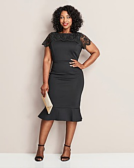 Black Peplum Hem Scuba Dress