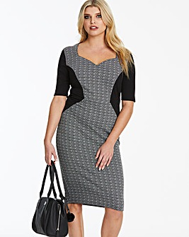 Black/Grey V-Neck Illusion Bodycon Dress