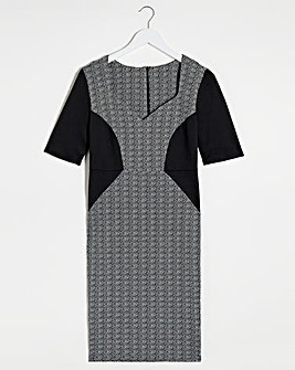 Black/Grey V-Neck Illusion Bodycon Dress