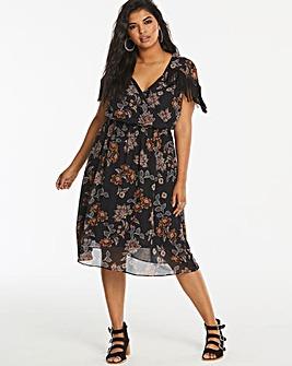 Floral Fringe Shoulder Dress