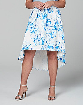Wolf & Whistle Blue Floral Drop Hem Midi Skirt