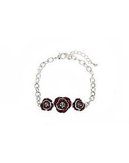 Rhodium plated crystal Poppy bracelet