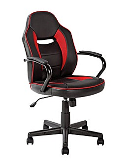 Faux Leather Mid Back Gaming Chair - Red & Black