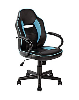 Faux Leather Gaming Chair - Blue & Black