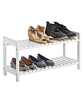 2 Tier Shoe Rack - White
