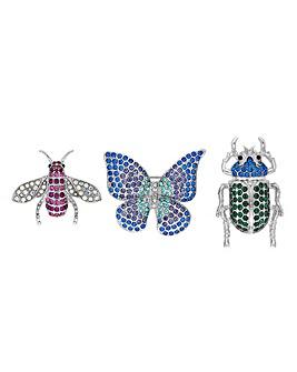 Mood Butterfly Bug Brooch Set