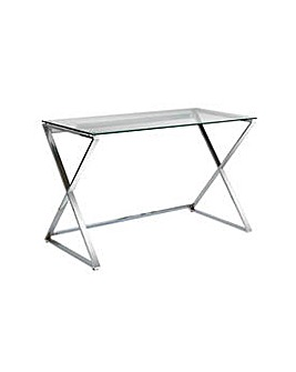 Hygena Cortez Glass Office Desk - Silver
