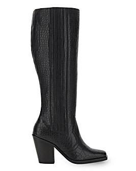 Leather Mock Croc Western High Leg Boots Wide E Fit Standard Calf Width
