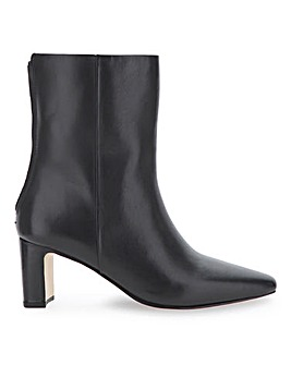 Leather Back Zip Slim Heel Ankle Boots Wide E Fit