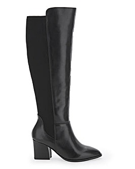 Leather Boots With Stretch Back Panel Wide E Fit Curvy Calf Width