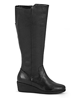 Leather High Leg Wedge Boots Wide E Fit Super Curvy Calf Width