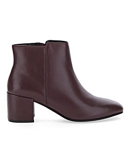 Soft Leather Block Heel Ankle Boots Wide E Fit
