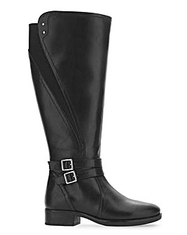 Buckle Detail High Leg Boots Wide E Fit Super Curvy Calf Width