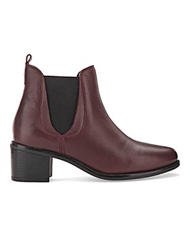 Leather Block Heel Chelsea Boots Extra Wide EEE Fit