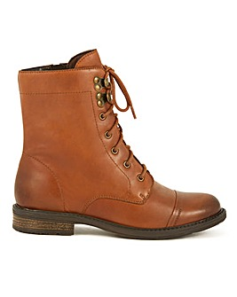 Leather Lace Up Casual Ankle Boots Wide E Fit