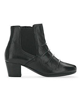 Heavenly Soles Leather Ruched Front Ankle Boots Wide E Fit