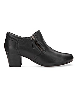 Heavenly Soles Leather Side Zip Shoes Wide E Fit