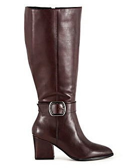 Leather Boots With Buckle Detail Wide E Fit Curvy Calf Width