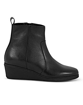 Leather Wedge Ankle Boots Extra Wide EEE Fit