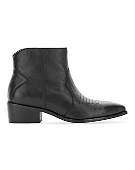 Leather Western Ankle Boots Wide E Fit