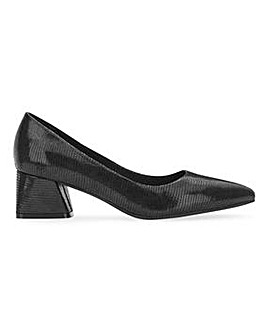 Pointed Toe Block Heel Court Shoes Wide E Fit