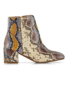 Flexi Sole Snake Print Ankle Boots Wide E Fit