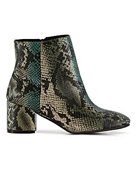 Flexi Sole Snake Print Ankle Boots Extra Wide EEE Fit